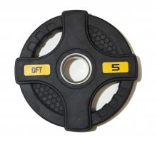 ORIGINAL FIT.TOOLS Диск олимпийский обрезиненный черный с двумя хватами FT-2HGP-5 кг