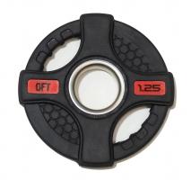 ORIGINAL FIT.TOOLS Диск олимпийский обрезиненный черный с двумя хватами FT-2HGP-1.25 кг