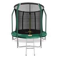 Батут с защитной сетью ARLAND премиум 8FT с внутренней страховочной сеткой и лестницей (Dark green)